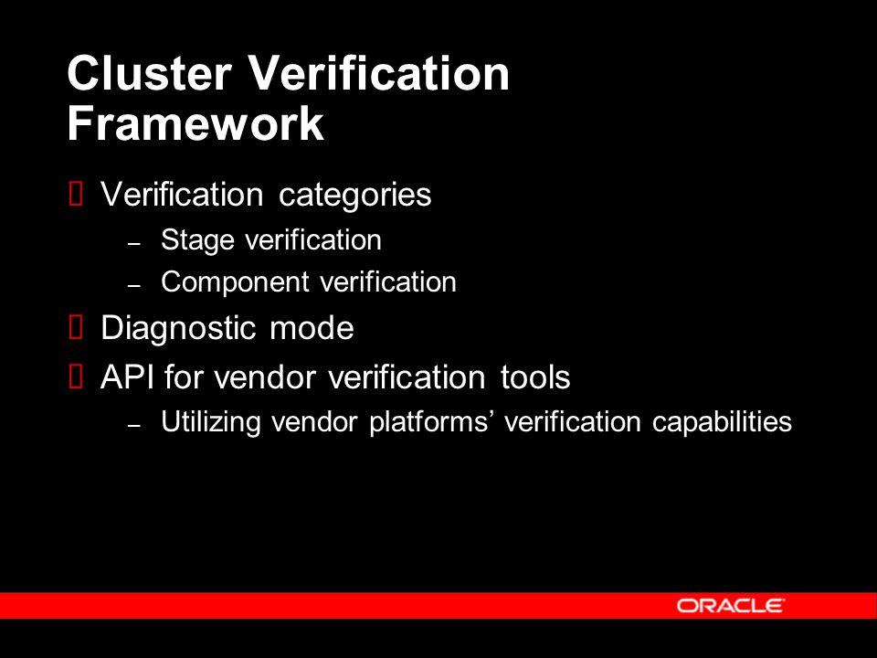 Cluster Verification Framework  Verification categories – Stage verification – Component verification  Diagnostic mode  API for vendor verification tools – Utilizing vendor platforms' verification capabilities