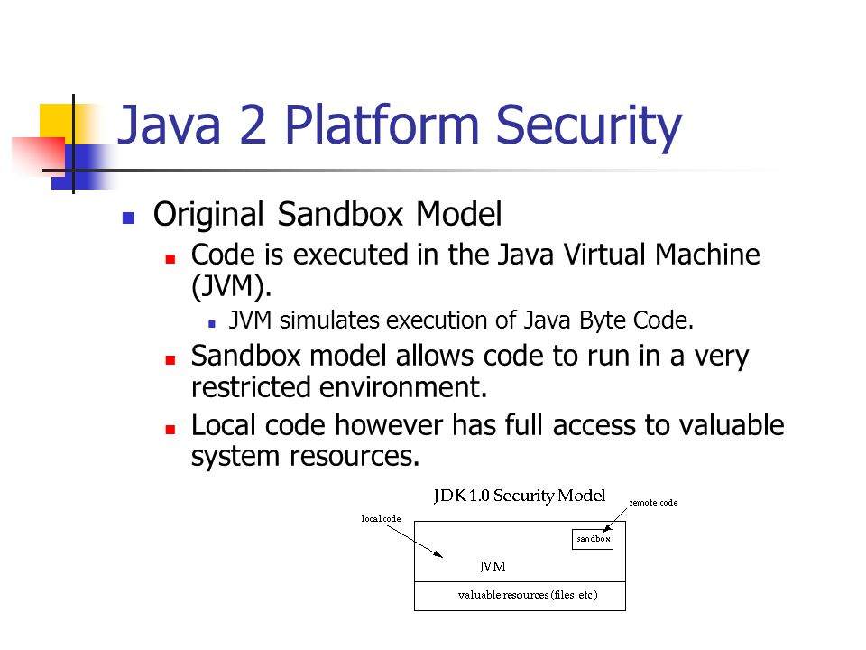 Java 2 Platform Security: Access Controller Access Controller is built upon Code sources: where did the code come from.