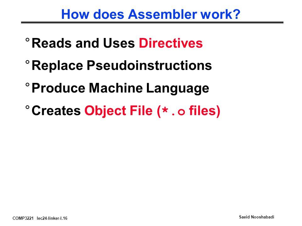 COMP3221 lec24-linker-I.16 Saeid Nooshabadi How does Assembler work? °Reads and Uses Directives °Replace Pseudoinstructions °Produce Machine Language