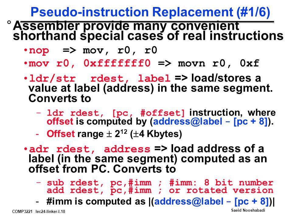 COMP3221 lec24-linker-I.18 Saeid Nooshabadi Pseudo-instruction Replacement (#1/6) °Assembler provide many convenient shorthand special cases of real i