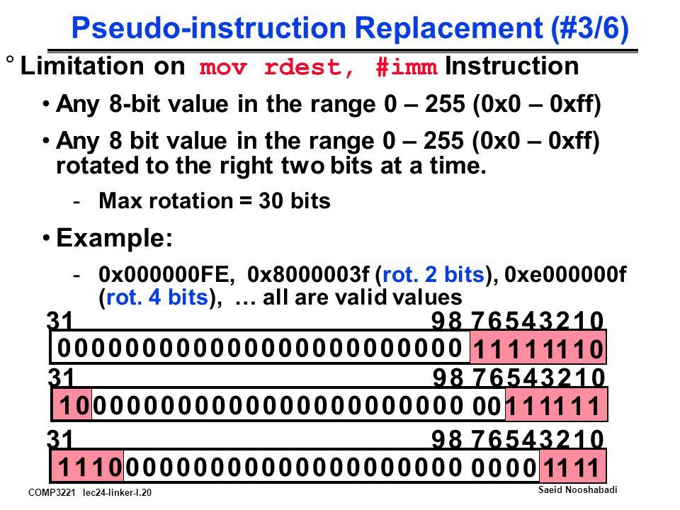 COMP3221 lec24-linker-I.20 Saeid Nooshabadi Pseudo-instruction Replacement (#3/6) °Limitation on mov rdest, #imm Instruction Any 8-bit value in the ra