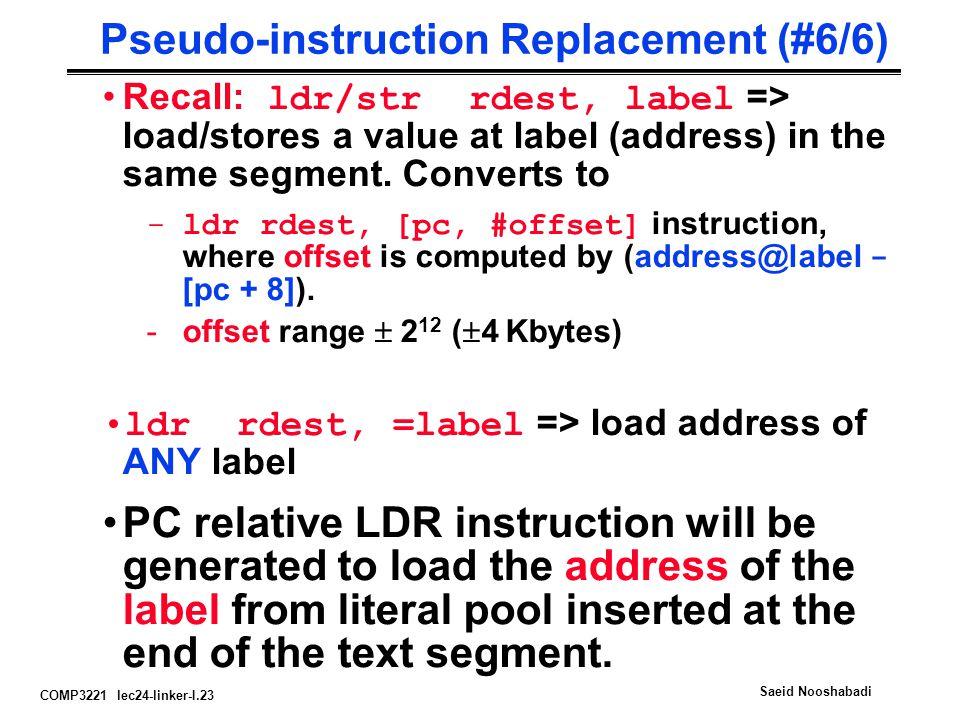 COMP3221 lec24-linker-I.23 Saeid Nooshabadi Pseudo-instruction Replacement (#6/6) Recall: ldr/str rdest, label => load/stores a value at label (addres