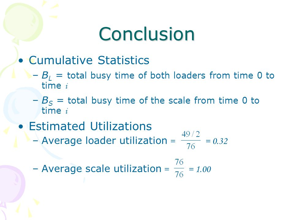 Conclusion Cumulative Statistics –B L = total busy time of both loaders from time 0 to time i –B S = total busy time of the scale from time 0 to time i Estimated Utilizations –Average loader utilization = = 0.32 –Average scale utilization = = 1.00