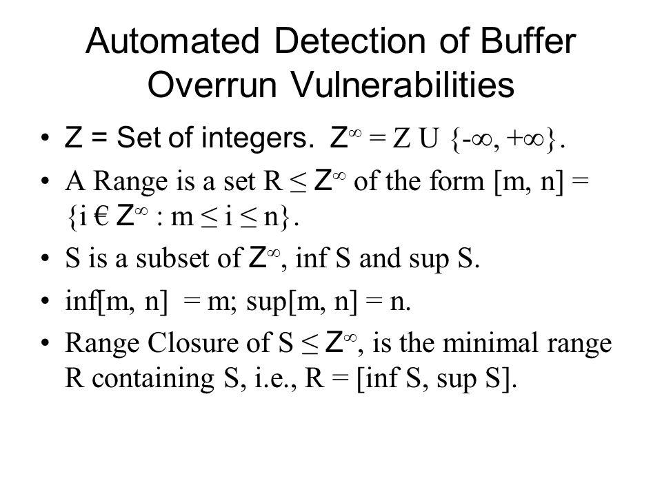 Automated Detection of Buffer Overrun Vulnerabilities Integer Range Expression e: e ::= v   n   n x v   e + e   e – e   max(e,…,e)   min(e,…,e) where n € Z and v € Vars, a set of range variables.