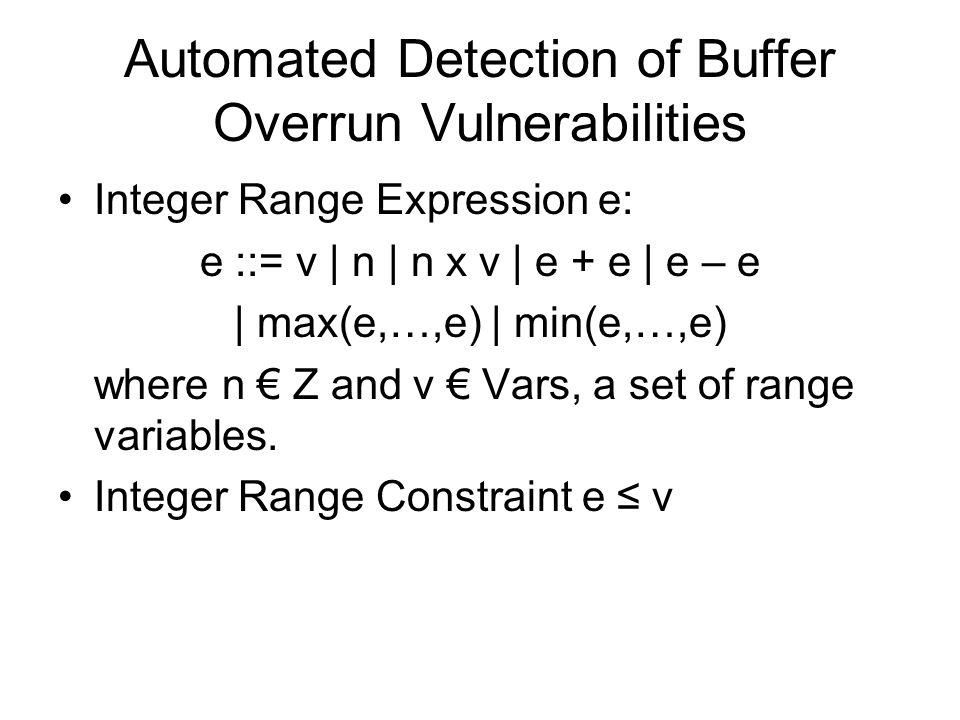Automated Detection of Buffer Overrun Vulnerabilities Integer Range Expression e: e ::= v | n | n x v | e + e | e – e | max(e,…,e) | min(e,…,e) where n € Z and v € Vars, a set of range variables.