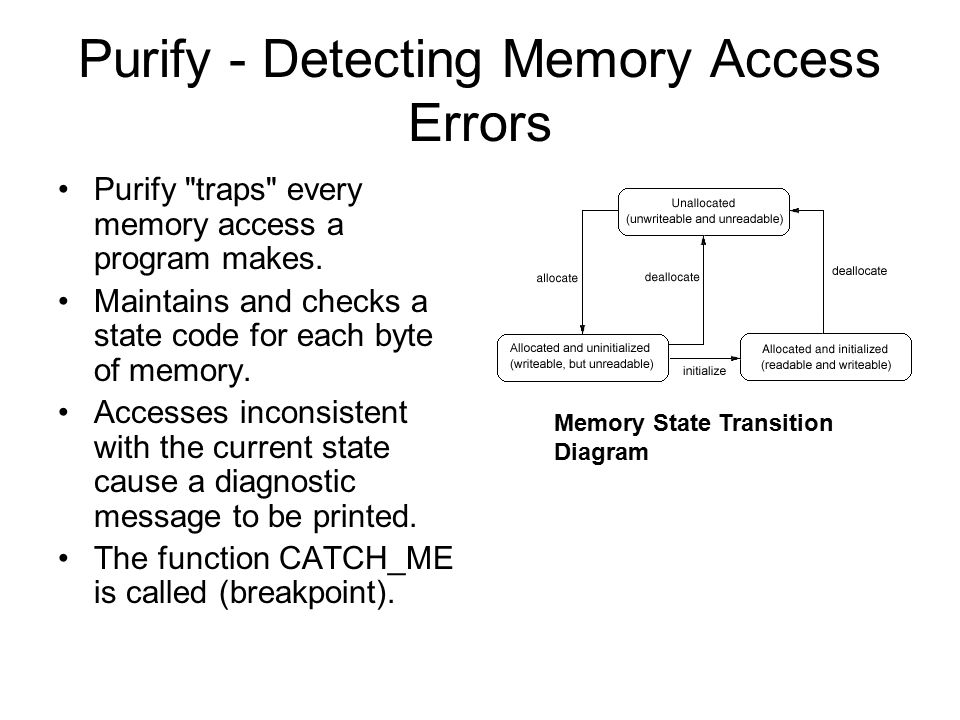 Purify - Detecting Memory Access Errors Purify