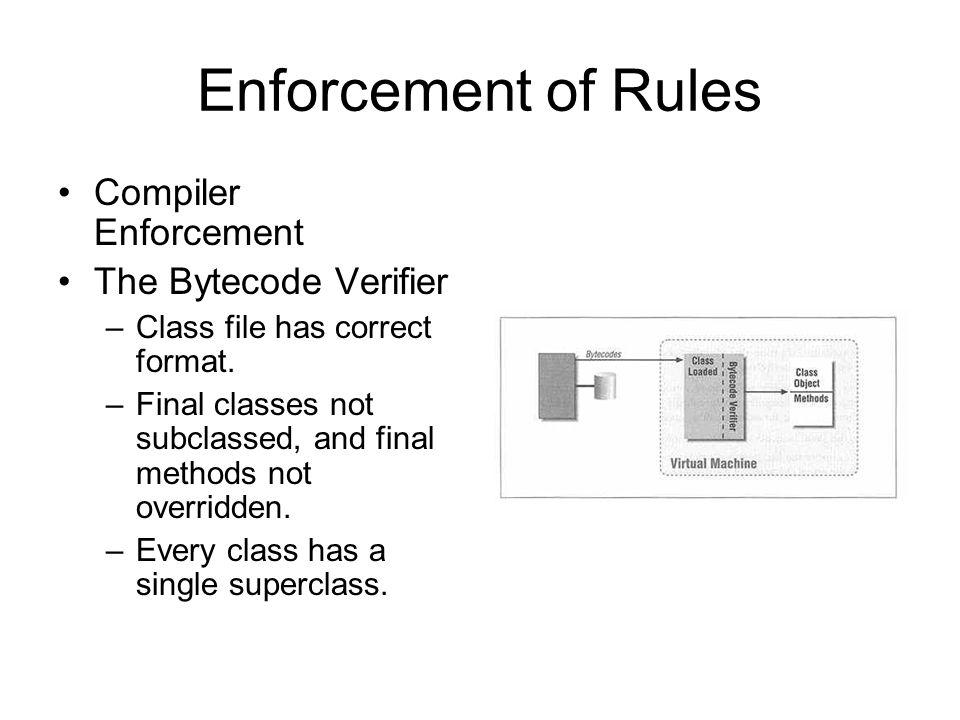 Enforcement of Rules Compiler Enforcement The Bytecode Verifier –Class file has correct format.