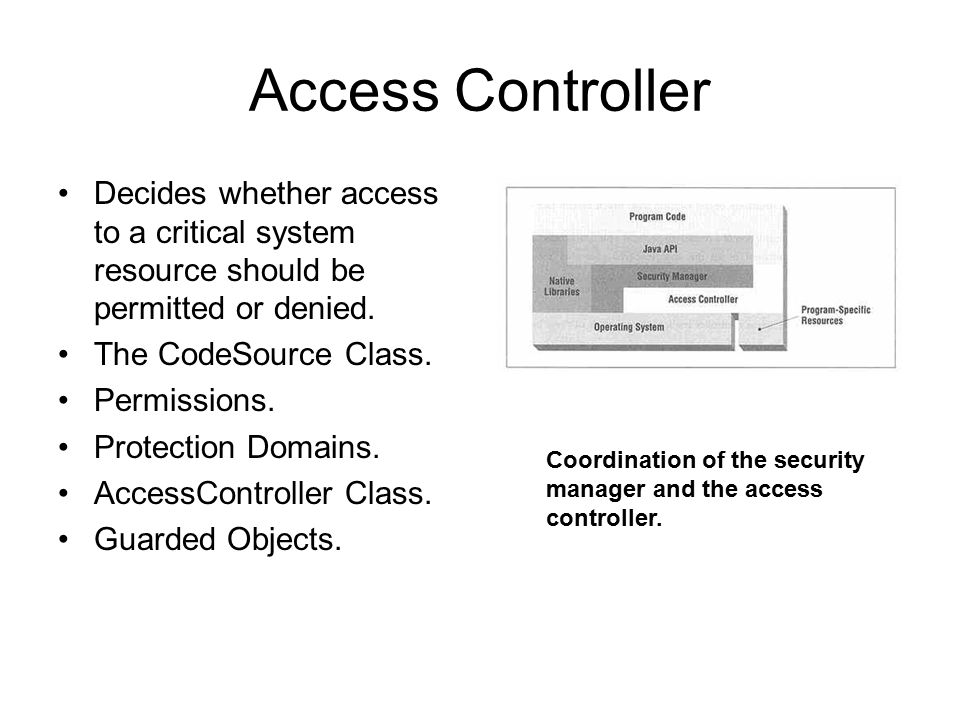 Access Controller Decides whether access to a critical system resource should be permitted or denied. The CodeSource Class. Permissions. Protection Do