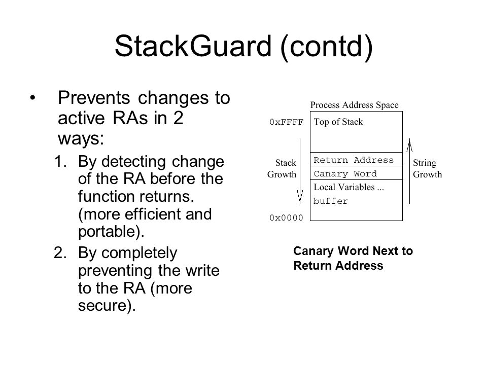StackGuard (contd) Prevents changes to active RAs in 2 ways: 1.By detecting change of the RA before the function returns. (more efficient and portable