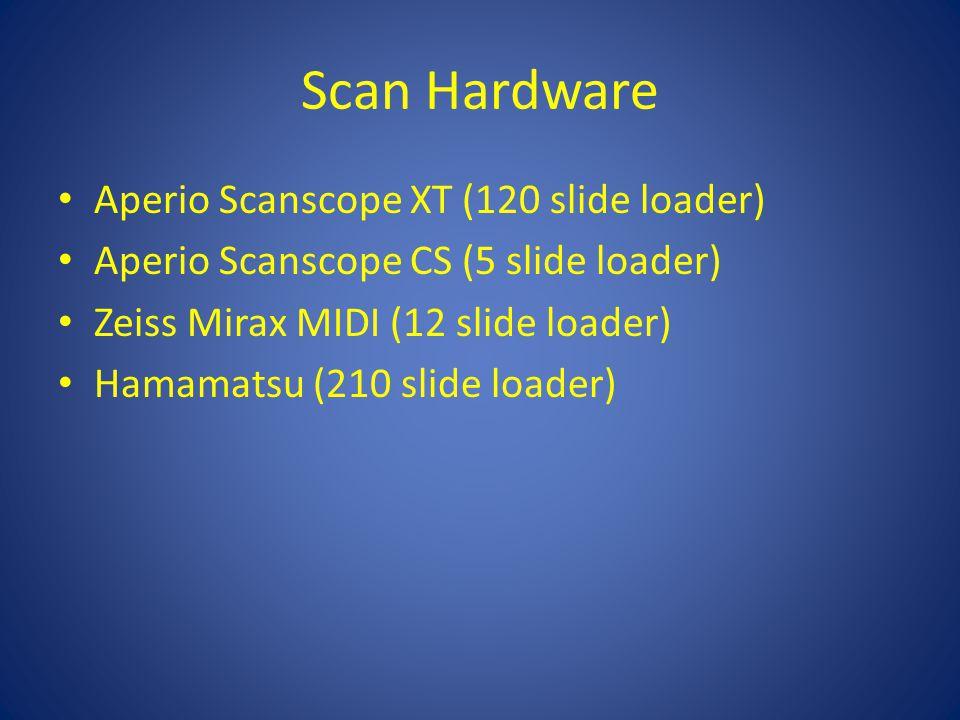 Scan Hardware Aperio Scanscope XT (120 slide loader) Aperio Scanscope CS (5 slide loader) Zeiss Mirax MIDI (12 slide loader) Hamamatsu (210 slide loader)