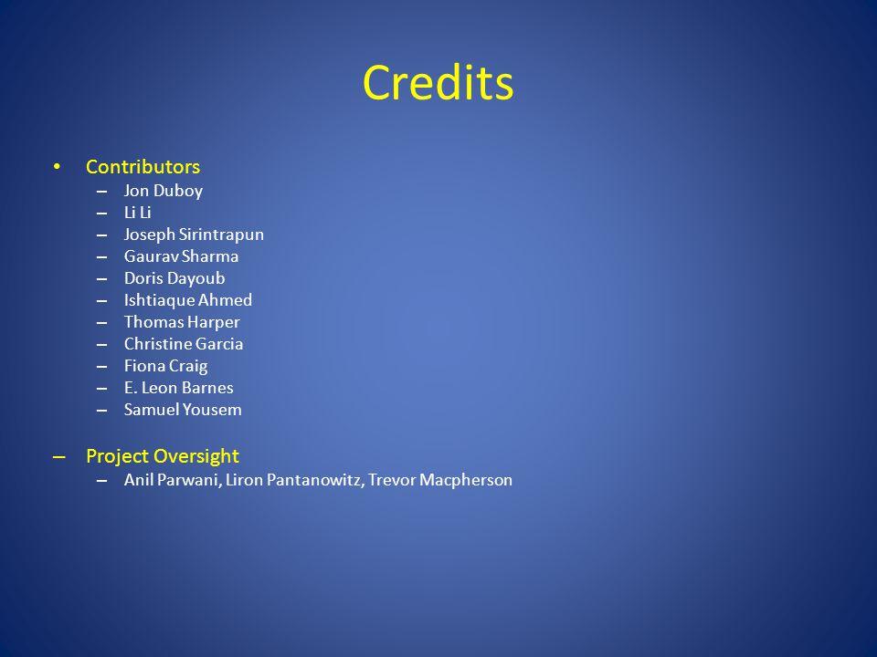 Credits Contributors – Jon Duboy – Li Li – Joseph Sirintrapun – Gaurav Sharma – Doris Dayoub – Ishtiaque Ahmed – Thomas Harper – Christine Garcia – Fiona Craig – E.