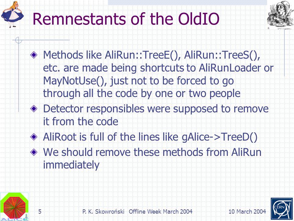 5P. K. Skowroński Offline Week March 200410 March 2004 Remnestants of the OldIO Methods like AliRun::TreeE(), AliRun::TreeS(), etc. are made being sho