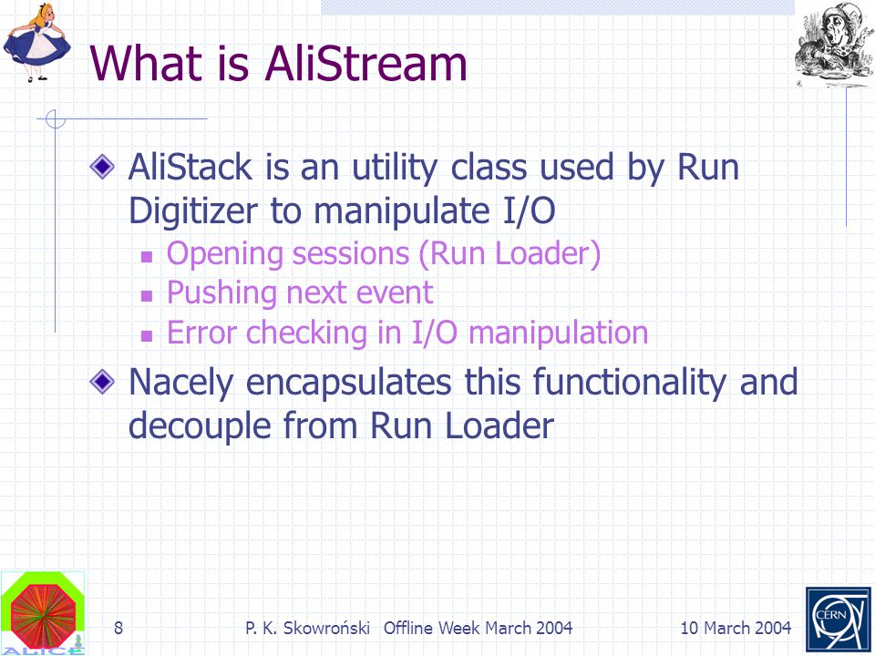 8P. K. Skowroński Offline Week March 200410 March 2004 What is AliStream AliStack is an utility class used by Run Digitizer to manipulate I/O Opening