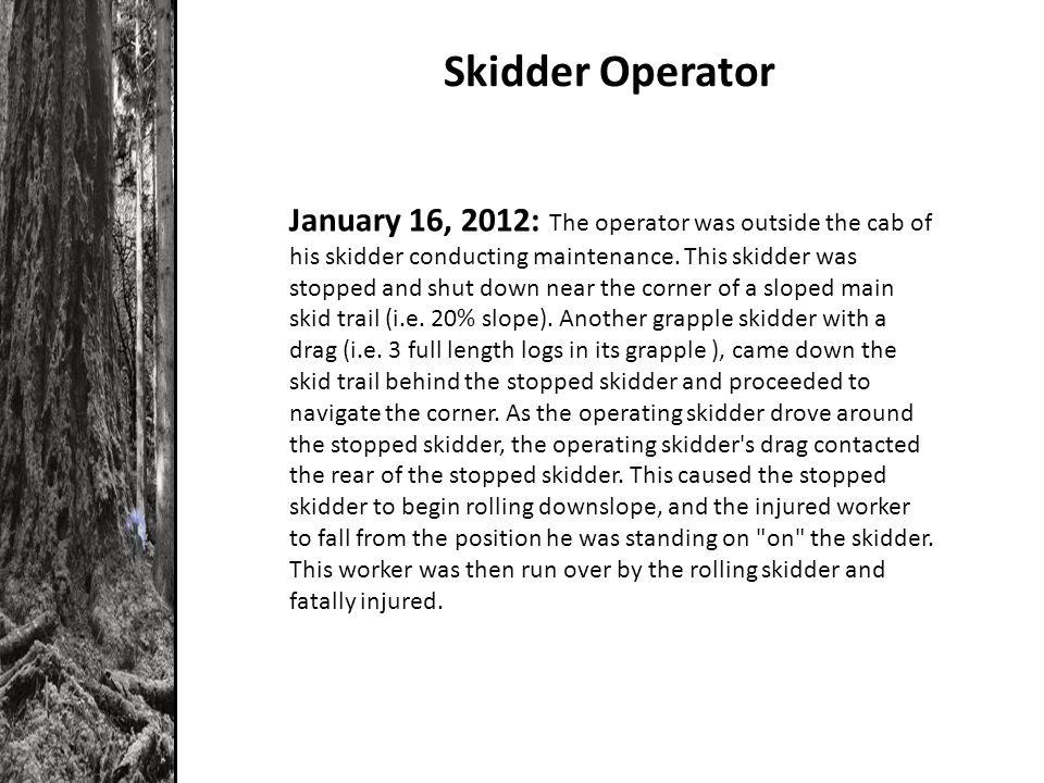 Skidder Operator January 16, 2012: The operator was outside the cab of his skidder conducting maintenance.