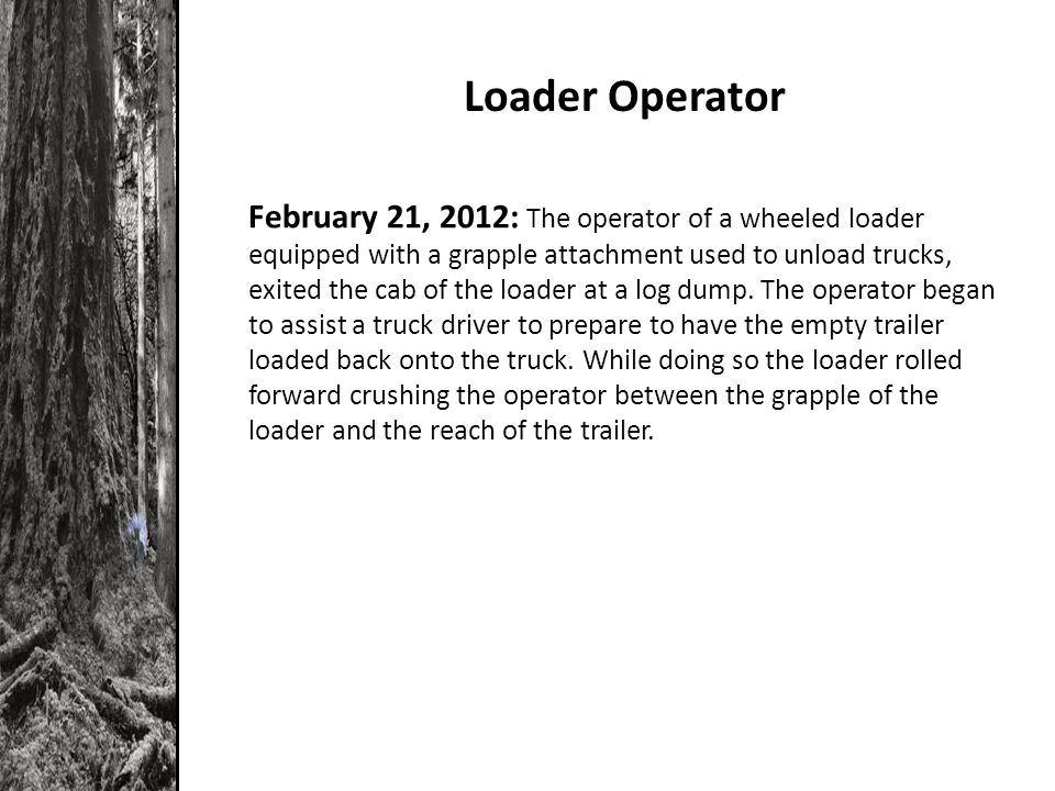 Loader Operator February 21, 2012: The operator of a wheeled loader equipped with a grapple attachment used to unload trucks, exited the cab of the loader at a log dump.
