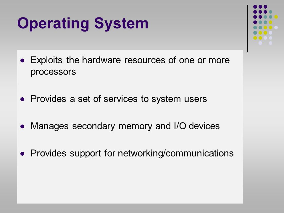 Basic Elements Processor Main Memory ( real memory/primary memory) I/O modules secondary memory devices communications equipment terminals System bus communication among processors, memory, and I/O modules