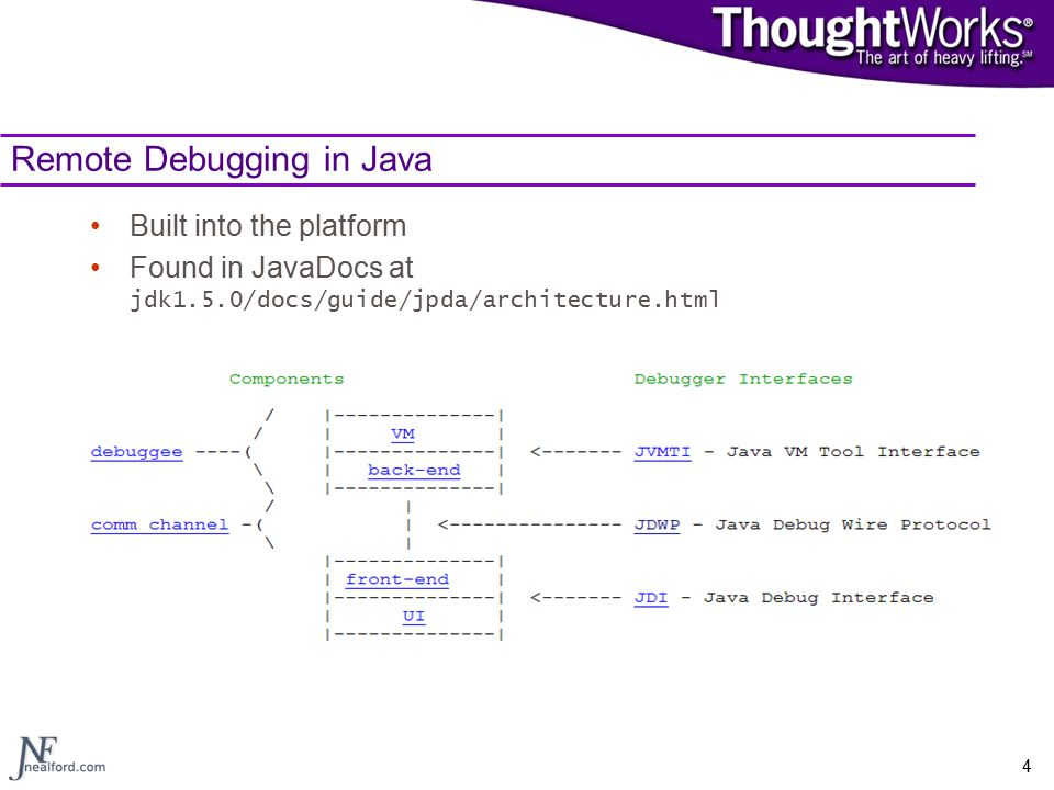 4 Remote Debugging in Java Built into the platform Found in JavaDocs at jdk1.5.0/docs/guide/jpda/architecture.html
