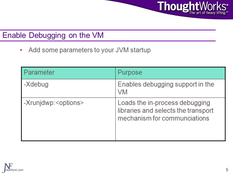 5 Enable Debugging on the VM Add some parameters to your JVM startup ParameterPurpose -XdebugEnables debugging support in the VM -Xrunjdwp: Loads the