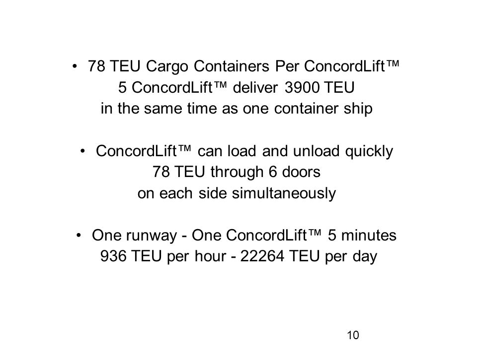 10 78 TEU Cargo Containers Per ConcordLift™ 5 ConcordLift™ deliver 3900 TEU in the same time as one container ship ConcordLift™ can load and unload quickly 78 TEU through 6 doors on each side simultaneously One runway - One ConcordLift™ 5 minutes 936 TEU per hour - 22264 TEU per day