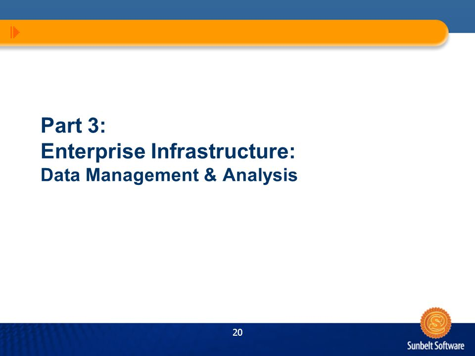 20 Part 3: Enterprise Infrastructure: Data Management & Analysis