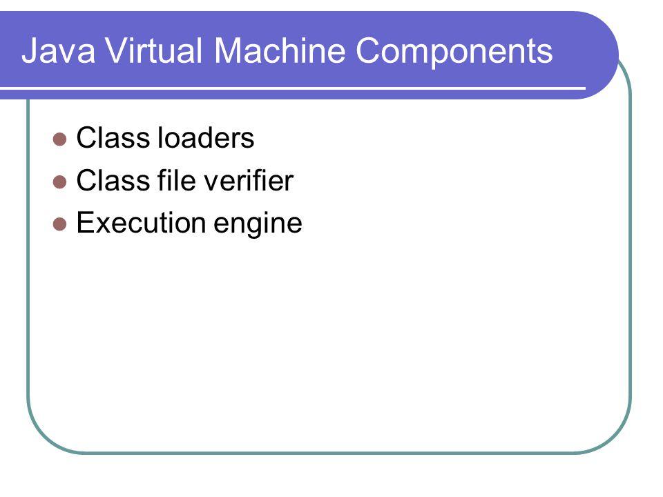 Java Virtual Machine Components Class loaders Class file verifier Execution engine