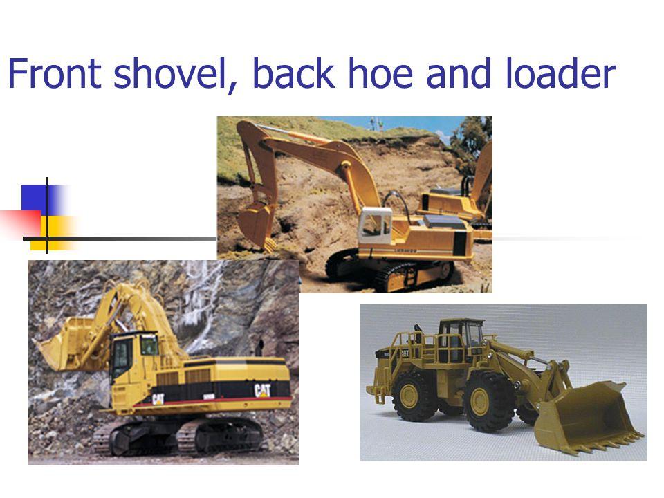 Front shovel, back hoe and loader