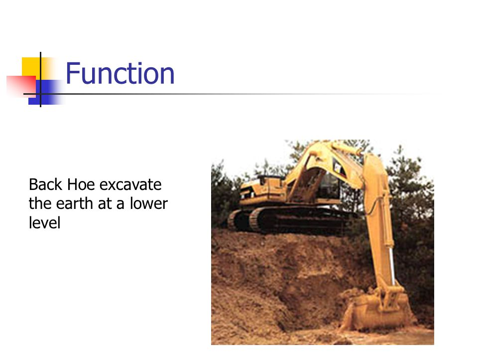 Function Back Hoe excavate the earth at a lower level