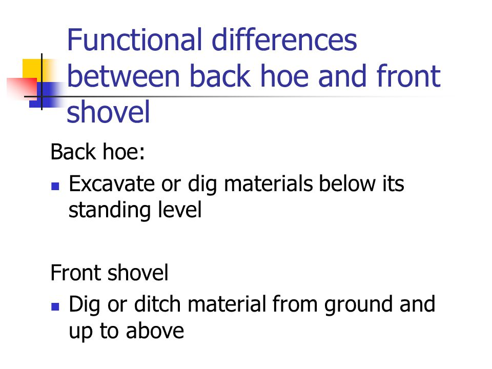 Functional differences between back hoe and front shovel Back hoe: Excavate or dig materials below its standing level Front shovel Dig or ditch material from ground and up to above