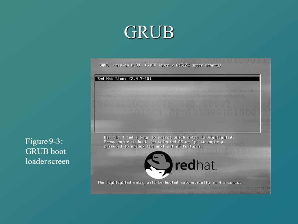 GRUB Figure 9-3: GRUB boot loader screen