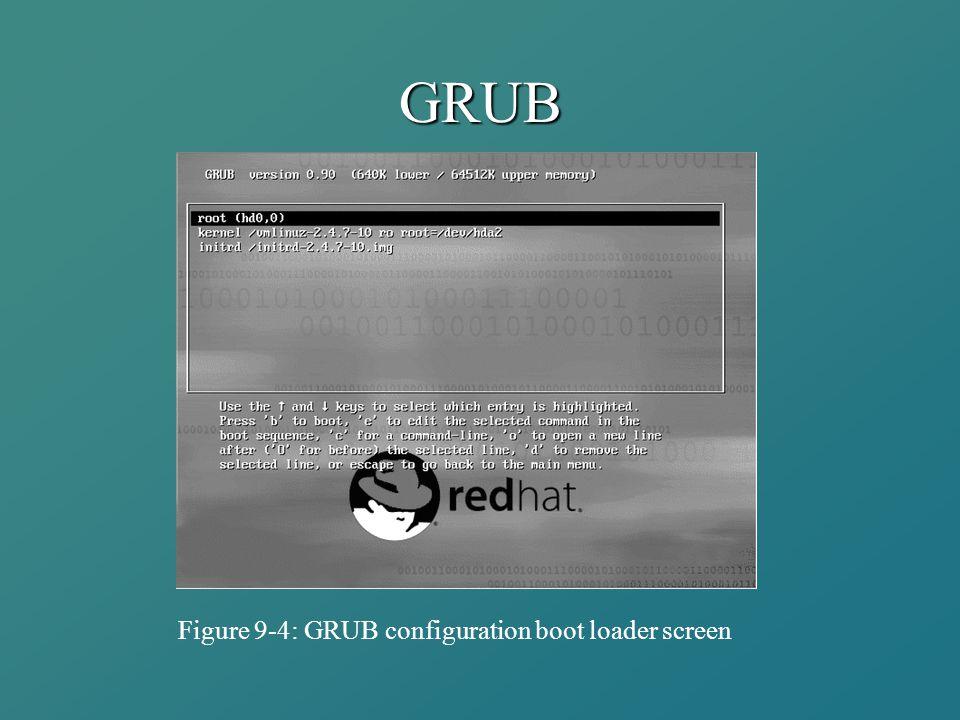 GRUB Figure 9-4: GRUB configuration boot loader screen