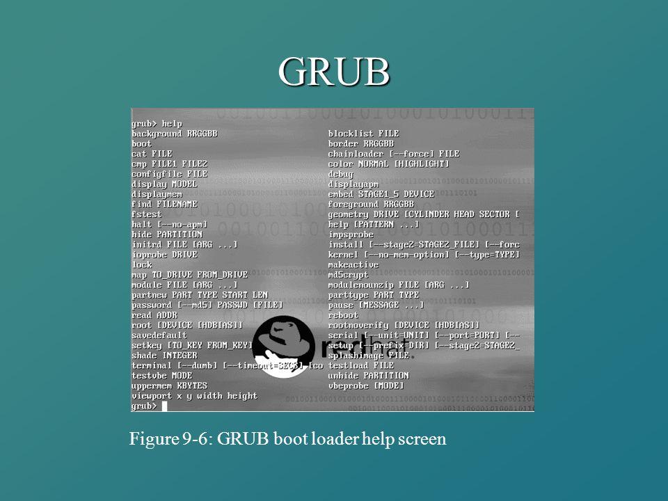 GRUB Figure 9-6: GRUB boot loader help screen