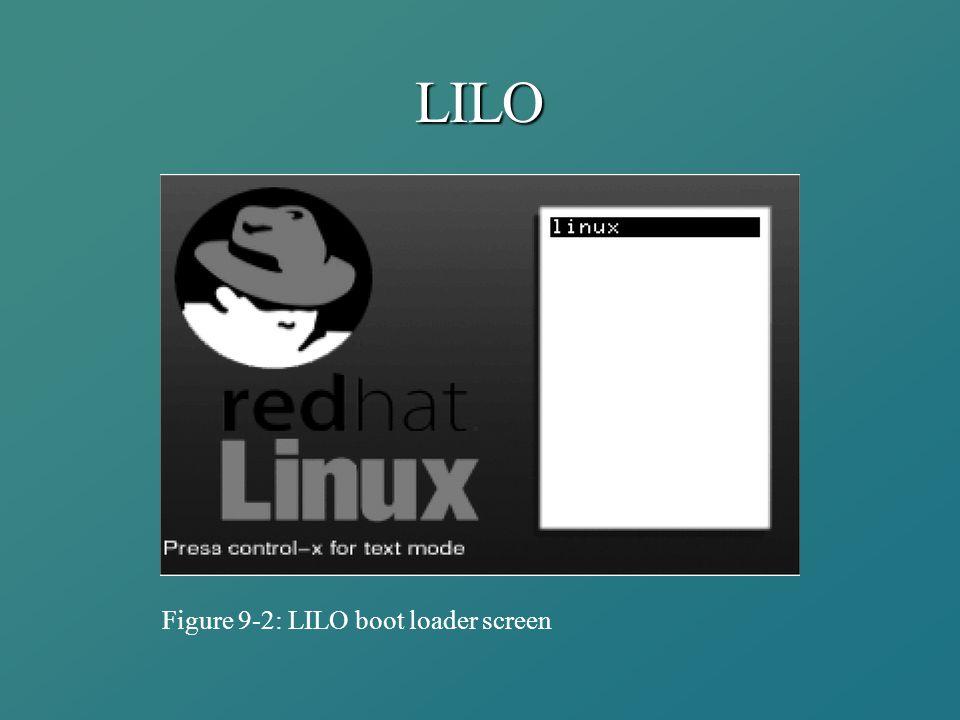 LILO Figure 9-2: LILO boot loader screen
