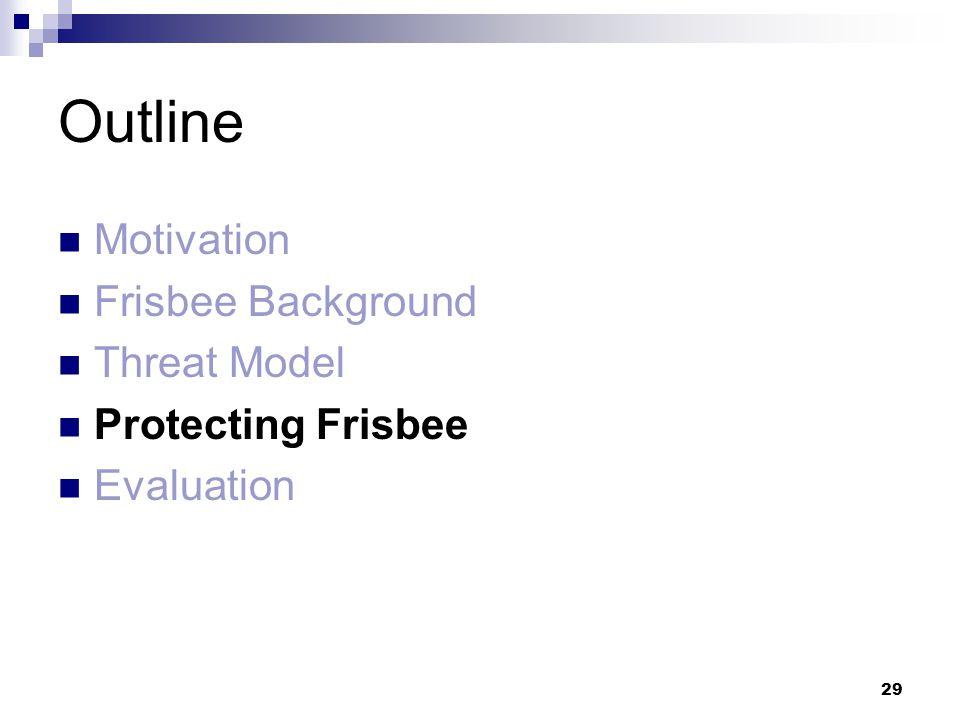 29 Outline Motivation Frisbee Background Threat Model Protecting Frisbee Evaluation