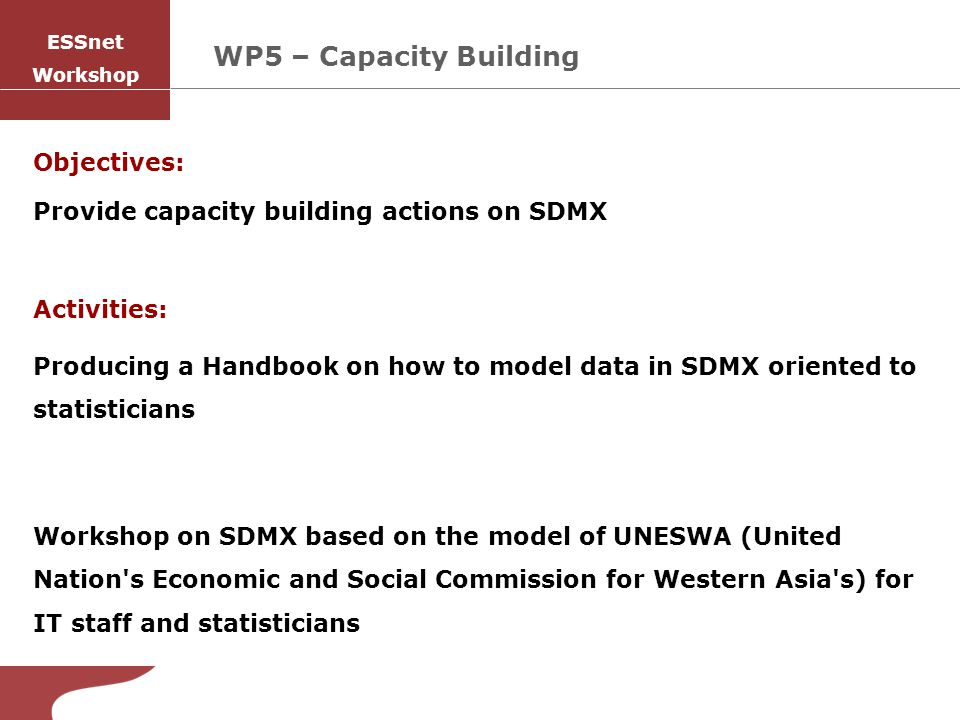 Objectives: Provide capacity building actions on SDMX Activities: Producing a Handbook on how to model data in SDMX oriented to statisticians Workshop on SDMX based on the model of UNESWA (United Nation s Economic and Social Commission for Western Asia s) for IT staff and statisticians WP5 – Capacity Building ESSnet Workshop