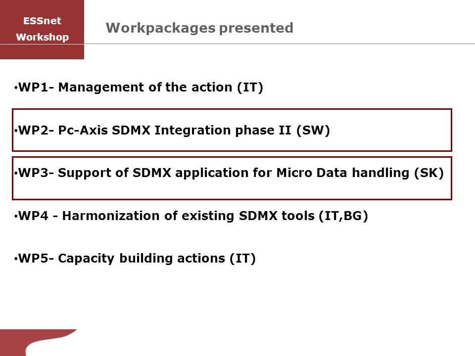 Workpackages presented WP1- Management of the action (IT) WP2- Pc-Axis SDMX Integration phase II (SW) WP3- Support of SDMX application for Micro Data handling (SK) WP4 - Harmonization of existing SDMX tools (IT,BG) WP5- Capacity building actions (IT) ESSnet Workshop