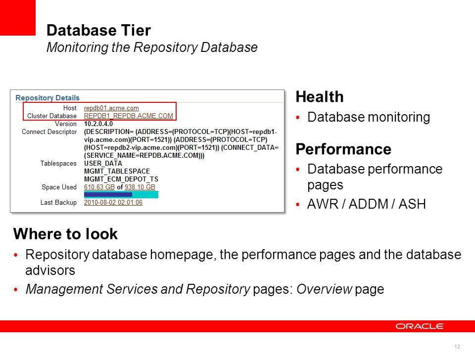 12 Database Tier Monitoring the Repository Database Health Database monitoring Performance Database performance pages AWR / ADDM / ASH Where to look Repository database homepage, the performance pages and the database advisors Management Services and Repository pages: Overview page