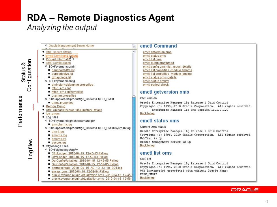 48 RDA – Remote Diagnostics Agent Analyzing the output Status & Configuration Performance Log files