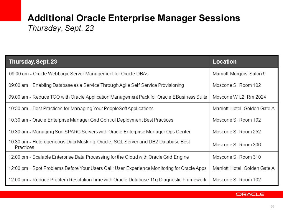 56 Additional Oracle Enterprise Manager Sessions Thursday, Sept.