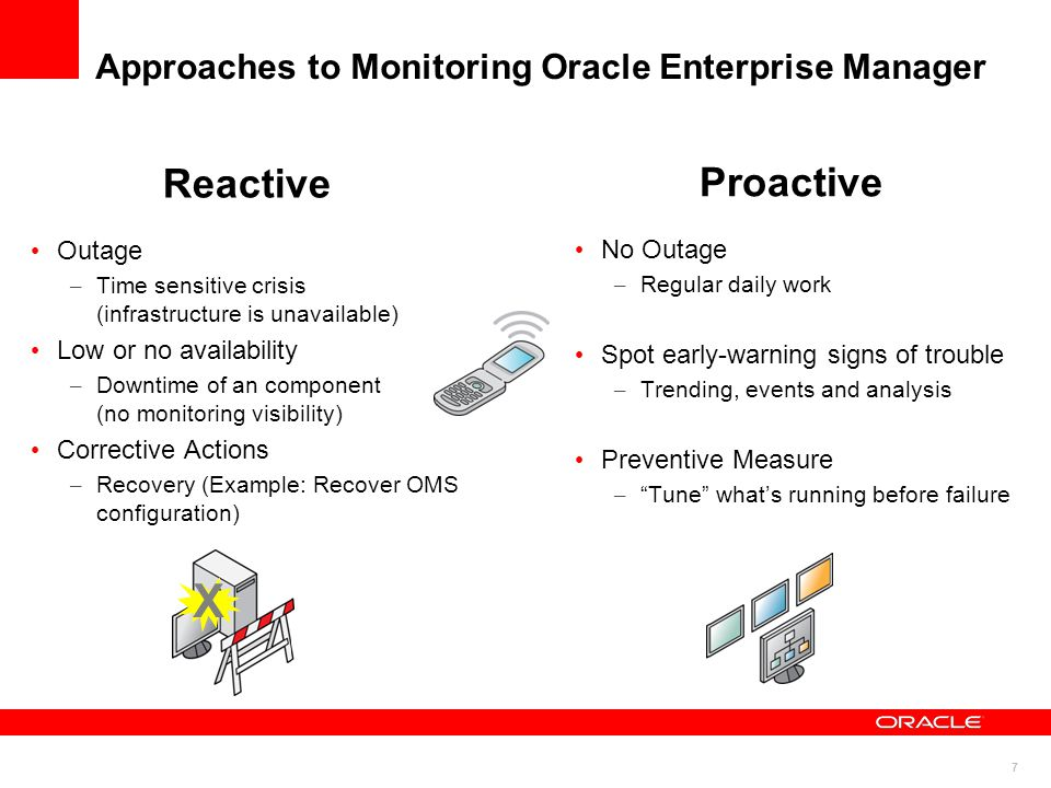 7 Approaches to Monitoring Oracle Enterprise Manager Proactive No Outage – Regular daily work Spot early-warning signs of trouble – Trending, events and analysis Preventive Measure – Tune what's running before failure Reactive Outage – Time sensitive crisis (infrastructure is unavailable) Low or no availability – Downtime of an component (no monitoring visibility) Corrective Actions – Recovery (Example: Recover OMS configuration) X