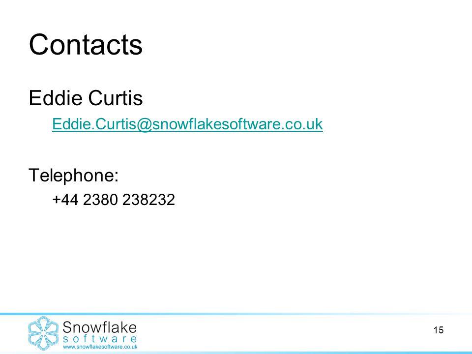 15 Contacts Eddie Curtis Eddie.Curtis@snowflakesoftware.co.uk Telephone: +44 2380 238232