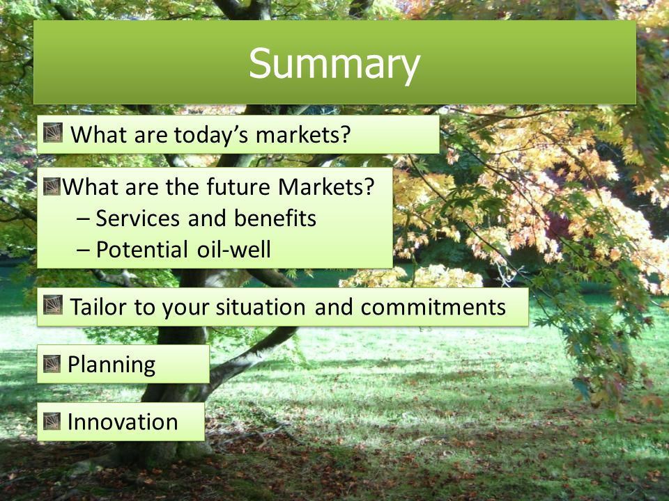 Summary What are the future Markets.