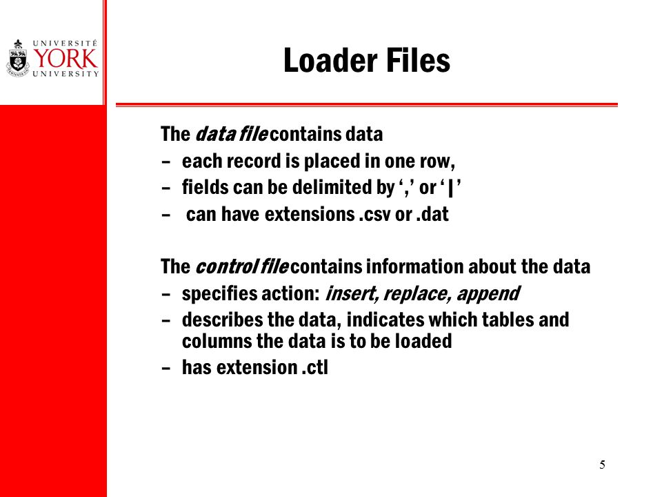 5 Loader Files The data file contains data –each record is placed in one row, –fields can be delimited by ',' or ' ' – can have extensions.csv or.dat
