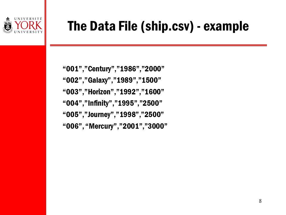"8 The Data File (ship.csv) - example ""001"",""Century"",""1986"",""2000"" ""002"",""Galaxy"",""1989"",""1500"" ""003"",""Horizon"",""1992"",""1600"" ""004"",""Infinity"",""1995"","