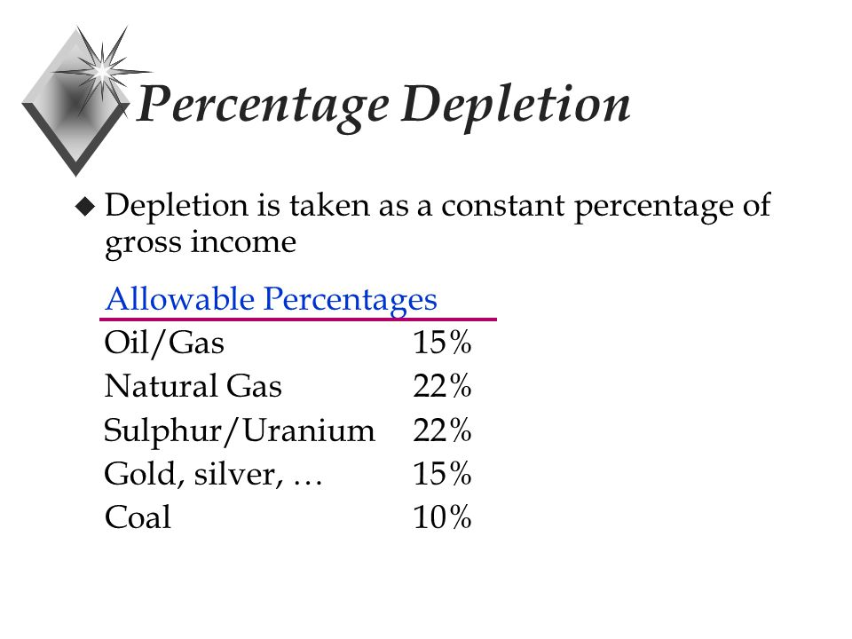 Percentage Depletion u Depletion is taken as a constant percentage of gross income Allowable Percentages Oil/Gas15% Natural Gas22% Sulphur/Uranium22% Gold, silver, …15% Coal10%