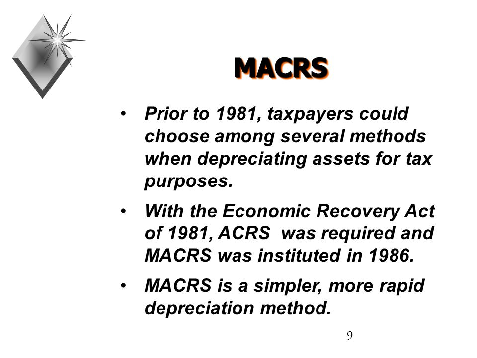 9 MACRSMACRS Prior to 1981, taxpayers could choose among several methods when depreciating assets for tax purposes.