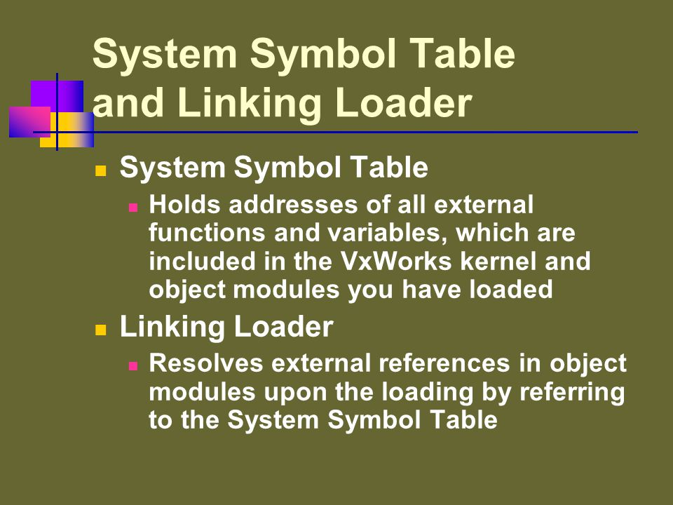 Loading and Linking Modules -> ld < myModule.o System Symbol Table void myCommand ( void ) { … } myCommand : 0x00fe87d0 myModule.o Registration of New Symbol