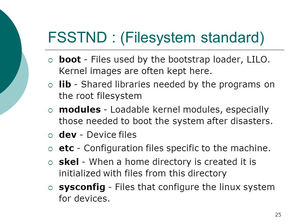 25 FSSTND : (Filesystem standard)  boot - Files used by the bootstrap loader, LILO. Kernel images are often kept here.  lib - Shared libraries neede