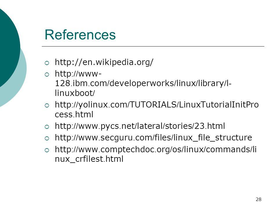 28 References  http://en.wikipedia.org/  http://www- 128.ibm.com/developerworks/linux/library/l- linuxboot/  http://yolinux.com/TUTORIALS/LinuxTuto
