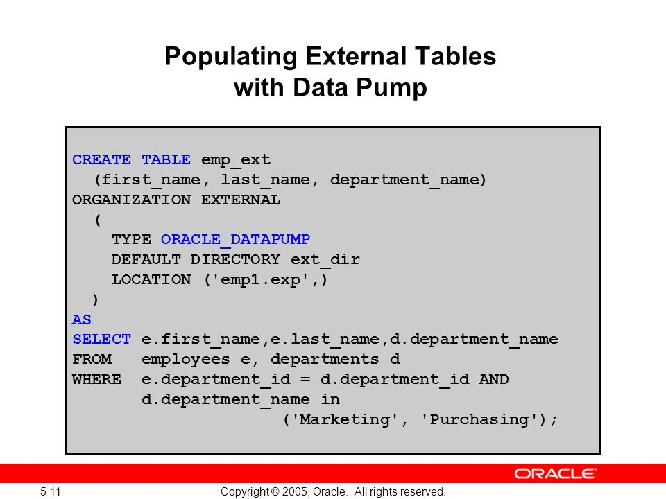 5-11 Copyright © 2005, Oracle. All rights reserved. Populating External Tables with Data Pump CREATE TABLE emp_ext (first_name, last_name, department_