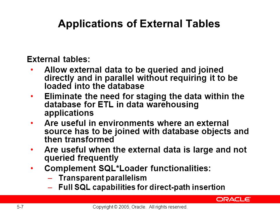 5-7 Copyright © 2005, Oracle. All rights reserved. Applications of External Tables External tables: Allow external data to be queried and joined direc